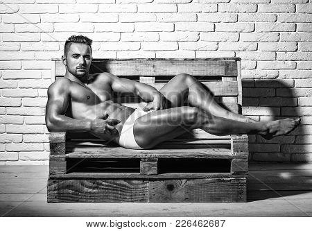 Handsome Man Or Muscular Macho, Bodybuilder, With Sexy, Muscle Torso, Body, With Six Packs And Abs I