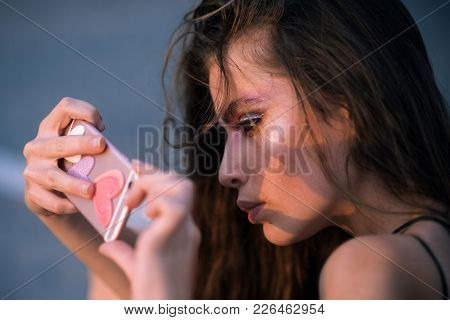 Young Woman Use Mobile Phone, 4g, 3g. Fashion Girl With Smartphone, Mobile Device. Fashion, Beauty,