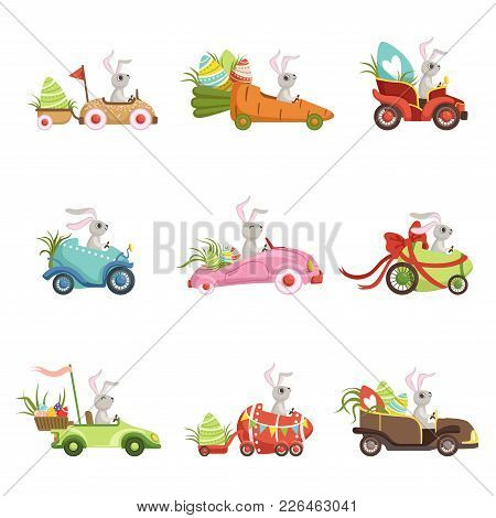 Cute Little Bunnies Driving Vintage Car With Colored Eggs Set, Funny Rabbit Characters, Happy Easter