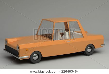 3d Funny Retro Styled Orange Car. Glossy Bright  Vehicle On Grey Background With Realistic Shadows.