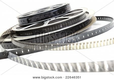 Black and white film roll on a white background poster