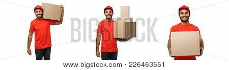 Delivery Concept - Set Of Portrait Of Happy African American Delivery Man In Red Cloth Holding A Box