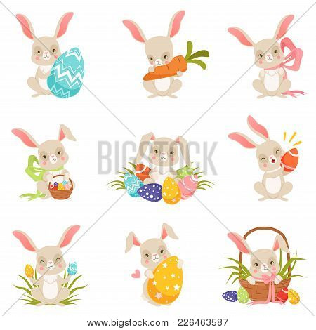 Cute Cartoon Bunnies Holding Colored Eggs Set, Funny Rabbit Characters, Happy Easter Concept Cartoon
