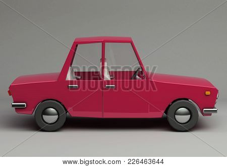 3d Funny Retro Styled Red Car. Glossy Bright  Vehicle On Grey Background With Realistic Shadows. Sid