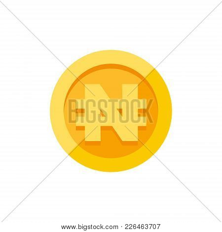 Nigerian Naira Currency Symbol On Gold Coin, Money Sign Flat Style Vector Illustration Isolated On W