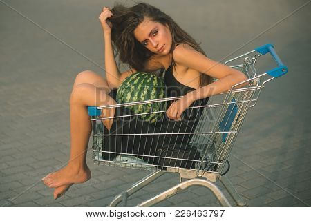 Sale, Purchase, Black Friday. Girl Shopper With Watermelon Sit In Shopping Cart. Shopping, Shop, Sho