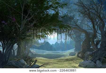 3d Rendering Of Enchanted Dark Forest In The Moonlight. Fairy Path In The Middle Of  Mystic Magic De