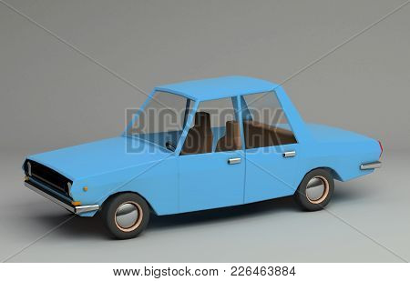 3d Funny Retro Styled Blue Car. Glossy Bright  Vehicle On Grey Background With Realistic Shadows. Th