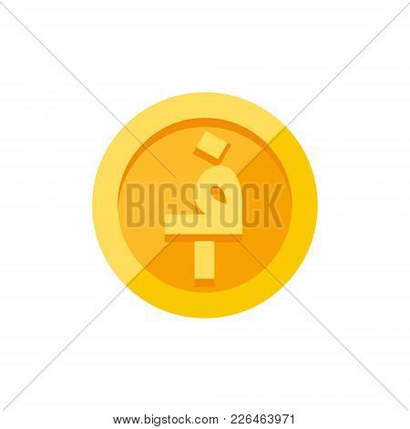 Afghan Afghani Symbol On Gold Coin, Flat Style Vector Illustration On White Background