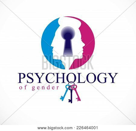 Gender Psychology Concept Created With Man And Woman Heads Profiles And Keyhole With Key Of Understa