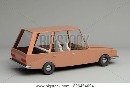 3d Rendering Of Funny Retro Styled Orange Car. Glossy Bright  Vehicle On Grey Background With Realis