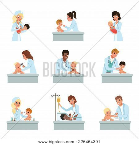 Pediatrician Doctors Doing Medical Examination Of Little Kids Set, Male And Female Doctors Checkup F