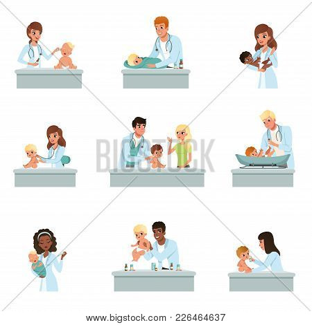 Pediatrician Doctors Doing Medical Examination Of Babies Set, Male And Female Doctors Checkup For Li