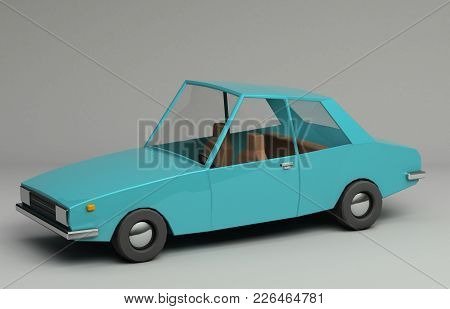 3d Rendering Of Funny Retro Styled Blue Car. Glossy Bright  Vehicle On Grey Background With Realisti