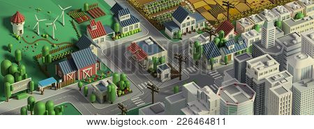3d Rendering Of City Landscape. Low Poly Colorful Background. Isometric Cartoon City Scape. Differen