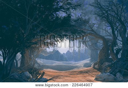 3d Rendering Of Enchanted Dark Forest In The Moonlight. Fairy Path In The Middle Of Mystic Magic Dee