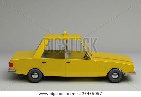 3d Rendering Of Funny Retro Styled Yellow Taxi. Glossy Bright  Vehicle On Grey Background With Reali