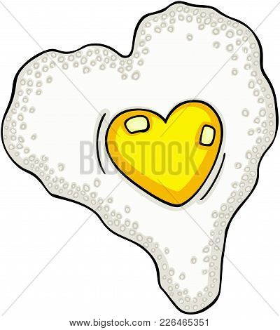 Scalable Vectorial Representing A Heart Shaped Fried Egg, Illustration Isolated On White Background.