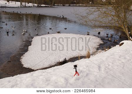 A Camera Of Action In The Snow In Front Of An Ice-cold Lake. There Are Ducks And Birds In The Icy Wa