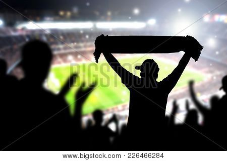 Crowd And Fans In Football Stadium. People In Soccer Game. Person Celebrating Goal And Holding Merch