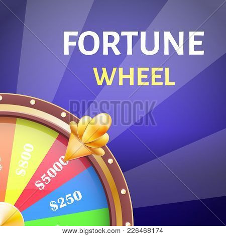 Fortune Wheel Poster With Earnings In 5000 Dollars, Money Prize In Casino Vector Illustration Isolat