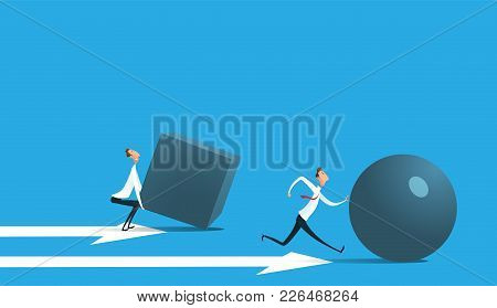 Businessman Pushing Sphere And Leading The Race Against Group Other Not So Lucky Guy Pushing Boxes.