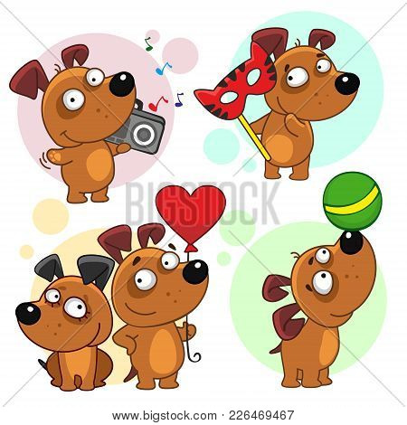 Thirteenth Icon Set With Dogs For Design. The Dog Stands With A Tape On His Shoulder And Listens To