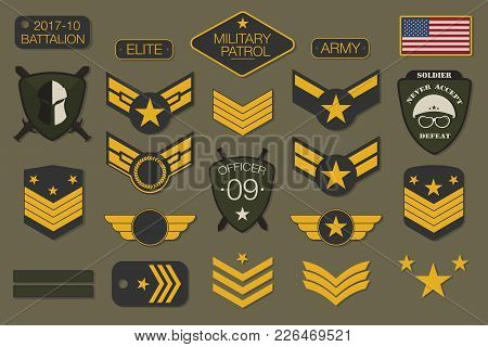 Military Badges And Army Patches Typography. Military Embroidery Chevron And Pin Design For T-shirt