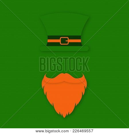 St. Patrick Day Character. Leprechaun's Hat With Beard And Mustache. Saint Patrick Day Symbol Design