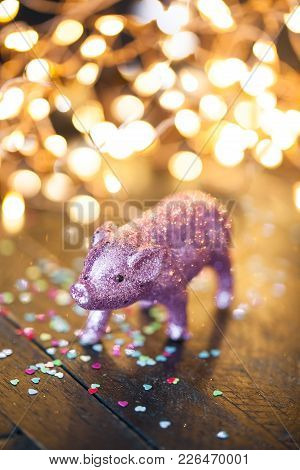 Lucky Charm, Little Pink Pig In Front Of Unfocused Lights