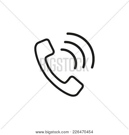 Handset Online Icon On The White Background