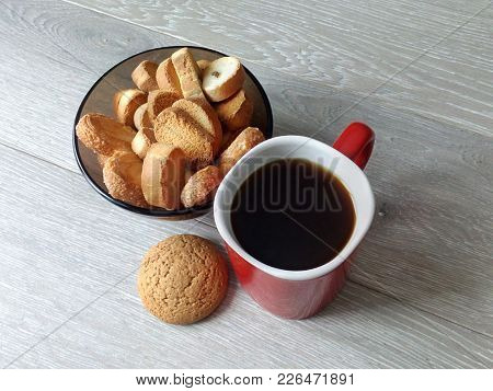 A Cup Of Coffee With A Biscuit On An Early Sunny Morning Before Work Or On The Weekend Is A Wonderfu