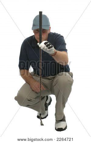 Golfspieler, die Schlange, ein Putt.
