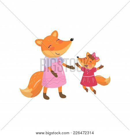 Cartoon Fox Family Mom And Her Little Baby. Forest Animal Characters. Design Element For Mother S Da