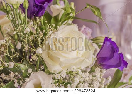 Premium Flowers With Wonderful White And Purple Roses. High Class Arrangement For E.g. A Wedding, Bi