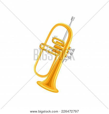 Golden Trumpet In Flat Style. Large Brass Wind Instrument With Straight Tubing In Three Sections. De
