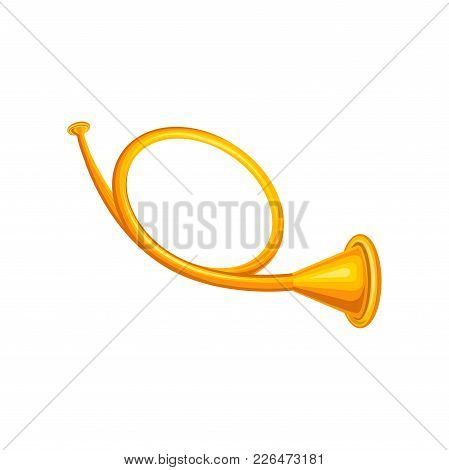 Old Golden Hunting Horn Trumpet. Concept Of Brass Musical Instrument. Decorative Element For Promo P