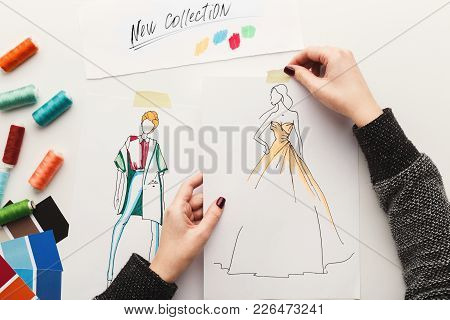 Top View On Fashion Designer At Work. Female Hands Working With Clothes Sketch At Her Workspace, Cop
