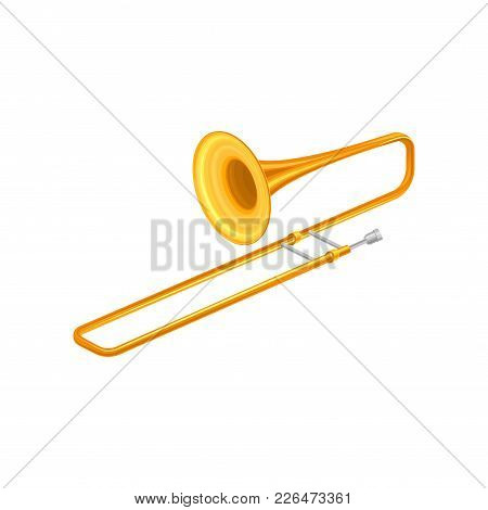 Large Golden Trumpet Trombone. Brass Musical Instrument For Playing Orchestral Or Classical Music. D