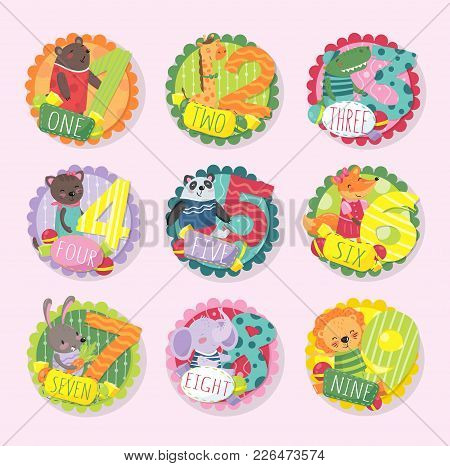 Set Of Colorful Round Emblems With Numbers From 1 To 9 And Different Animals. Bear, Giraffe, Crocodi