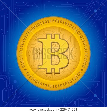 Bitcoin Crypto Coin With Blue Background, Circuits Backgrounds