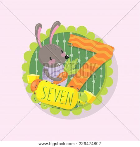 Colorful Emblem With Little Bunny And Number 7 Seven . Learn To Count Concept. Good For Beginners In