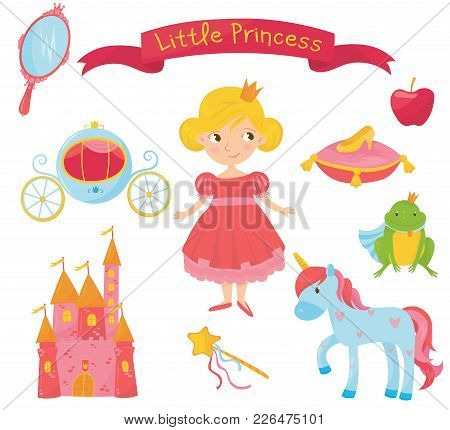 Collection Of Princess Items. Girl In Dress, Handle Mirror, Carriage, Apple, Frog Prince, Shoe On Pi