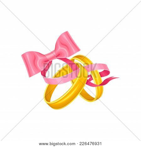 Cute Wedding Holiday Illustration With Two Golden Rings Tied With Pink Ribbon Bow, Simple Classic It