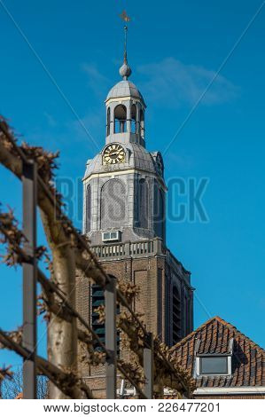 Church Tower Of The Protestant Grote Kerk In The Town Center Of Vlaardingen