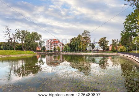 Pond Poplavok In A Summer Day. Kaliningrad, Russia.