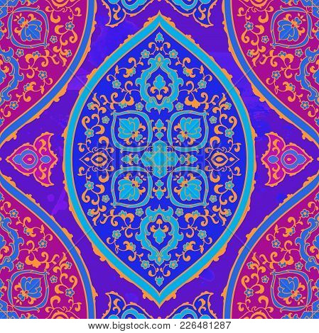 Islamic Or Indian Floral Pattern In Victorian Style. Ornamental For Card For Cafe, Shop, Print, Bann