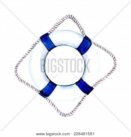 Lifebuoy With Blue Ribbons And A Rope. Marine Theme For Your Design. Watercolor Illustration