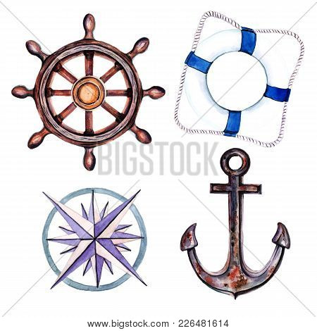 Marine Set Of Elements For Your Design From The Anchor, Steering Wheel And Sea Knots. Objects Isolat