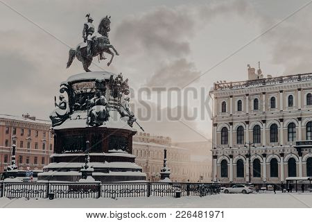 Monument To Nicholas I On Saint Isaac's Square In Saint Petersburg At Russia. Historical Monument Du